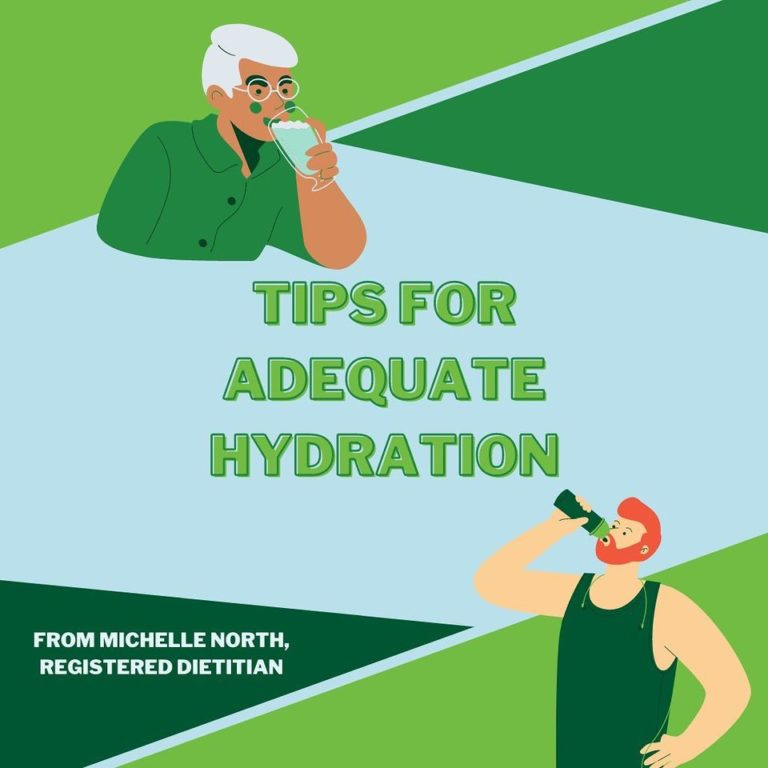 Tips for Adequate Hydration - By Michelle North, Registered Dietitian